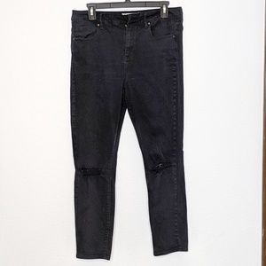 Bullhead Denim High Rise Skinniest Ankle Black 30